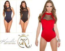 Sexy Damen KouCla Body Top Bluse Rückenfrei mit Netzeinsatz Gr. XS S M 36 #251
