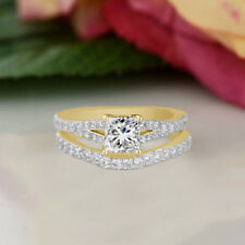 2.80 Ct Diamond 14K Yellow Gold Over Engagement Wedding Ring Set Size 7
