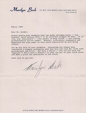 MARILYN BECK-HOLLYWOOD COLUMNIST-60 MINUTES-HAND SIGNED 1994 LETTER