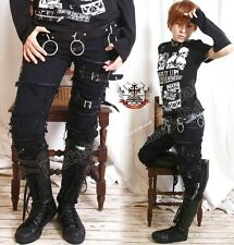 Punk EMO Distressed Buckle Fray Patch Stretch Cigarette Slim Denim Pants S/M/L