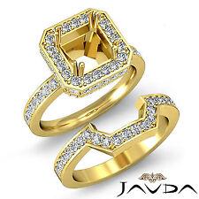 Diamond Engagement Ring Princess Cut Bridal Set 14k Gold Yellow Semi Mount 1.6Ct
