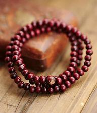 4mm Tibetan Buddhism 108 Red wood Prayer Buddha carved Bead Mala
