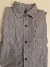 Next Mens Blue White Stripe Shirt Size M Regular Fit Long Sleeved Cotton Work