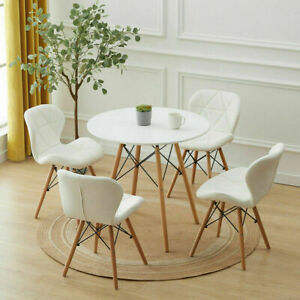 Modern White Round Dining Table and 2 / 4 Chairs Optional Lounge Bar Home Office