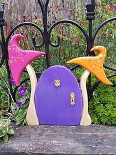 Wooden Hand carved Fairy Door for the Garden Yellow Purple Toadstool Faerie Door