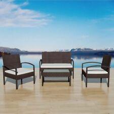 #vidaxl 7pc Brown Wicker Rattan Outdoor Furniture Set Sofa Armchair Coffee Table