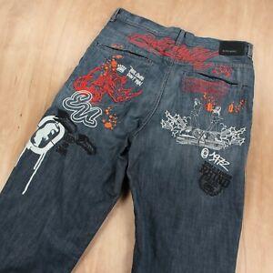vtg y2k ECKO UNLTD baggy wide leg denim jeans 34 tag rhino 1972 embroidered logo