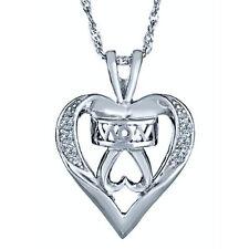 "Diamond Heart Love Mom Pendant Necklace 18"" 10K Gold"