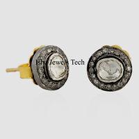 Victorian Natural Diamond & Diamond Polki Gold & 925 Sterling Silver Earrings