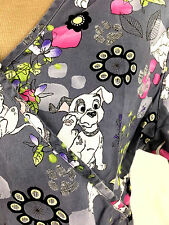 Disney Dalmation Scrub Top Womens M Black Double Pockets Gray Pink Vet Tech