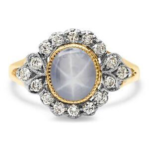 Star Sapphire Diamond Ring 14K Gold Oval Natural Handmade 6 Star Asterism
