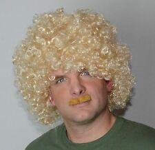 Blonde Curly Men's Wig and Dark Blonde Moustache Set, Fancy Dress Wig