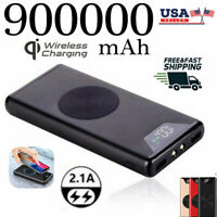 900000mAh Qi Wireless Power Bank Dual USB Fast Charging Battery Charger Backup