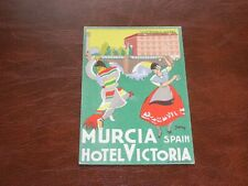 ORIGINAL SIGNED ADVERTISING POSTER POSTCARD - HOTEL VICTORIA, MURCIA, SPAIN.