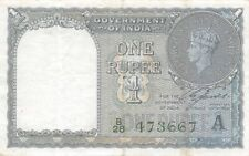 India 1 Rupee, 1940 P-25d King George Vi British India Banknote (Vf) 1/Ind3667,A