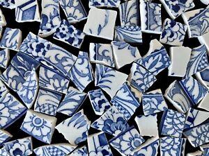 Broken China Mosaic Tiles BLUE & WHITE ~ Florals ~ 110+ Pieces Set B