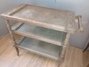 VINTAGE 3 Tier Rolling Cart Stand Serving Bar carved wooden Boheme bohemian boho