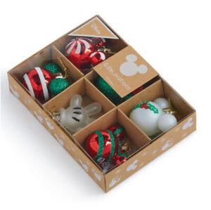 6x Disney Mickey Minnie Mouse Weihnachtskugeln Weihnachtsbaumschmuck grün rot