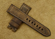 Vintage 24mm Assolutamente Genuine Leather Brown Retro Strap For PAM Watch Band