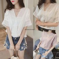 Summer Korean Women Lace Casual Loose Slim V Neck Short Sleeve Shirt Blouse Tops