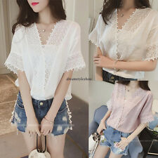 Chic Women V Neck Slim Lace Casual Loose Short Sleeve Pullover Shirt Blouse Top