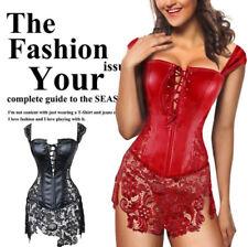 Christmas Women Steampunk Faux Leather Lace Corset Dress Boned Basques Lingerie