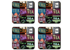 Personalized Coasters featuring the word TEA in sign photos - Set of 4