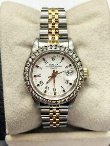 Rolex Ladies Date 69173 White Dial Diamond Bezel 18K Yellow Gold Stainless
