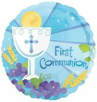 FIRST COMMUNION FOIL BALLOON RELIGIOUS PARTY DECORATION BOY BLUE GRAPES 1ST