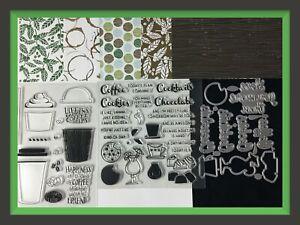 Unbranded COFFEE Stamps & Dies Stampin Up! Coffee Break DSP. ☕️
