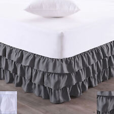 "Waterfall 3-Layer Ruffled Bed skirt 14"" Drop"