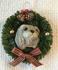 Gray Shih Tzu Christmas Tree Ornament Wreath Pet Owner Dog Lover Decor 4""