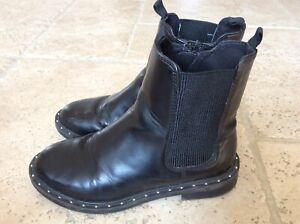 Girls Black Zip Fastening Zara Boots Size EU 32 UK Infant 13