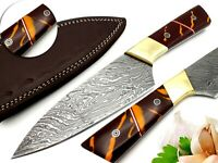 Sharpest Professional Chefs Knife Damascus Blade Full Tang With Sheath 10 Inches