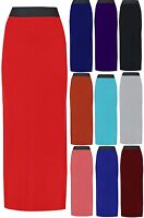 WOMENS LADIES JERSEY LONG BODYCON MAXI SKIRT GYPSY STRETCHY SKIRT SIZE 8 - 18