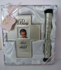 "BABY GIRL ""MY CHRISTENING CERTIFICATE"" HOLDER & ""BLESS THIS CHILD"" PHOTO FRAME"