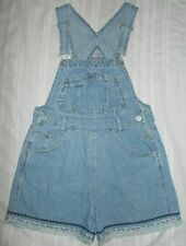 Junior's Squeeze Jeans Denim Cotton Frayed Bib Overall Shorts M