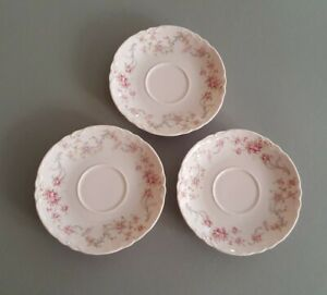 Hutschenreuther Porcelaine rose Untertasse rosa 3 Stück Racine Richelieu