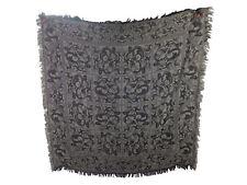 LS FRANCE - Schal m. Wolle + Seide - 130 x 130 cm - grau schwarz - edles Muster