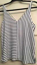 TOPSHOP Stripe Panel V-Strap Camisole Cami Tank Top Navy White~NWOT~Size 2 US
