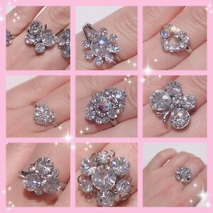 Adjustable Crystal Women Ladies Girls Resizable Diamante Finger Rings Party Gift
