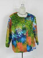 Coldwater Creek Women's Size 16 Floral Multi Color Button Up Blazer Jacket