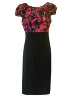 PER UNA Women's UK 10 Shift Dress Party H-Dress Digital Print Black Vibrant Chic