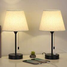 Modern Set of 2 Table Desk Lamp Bedside Lamp w/ Dual USB...