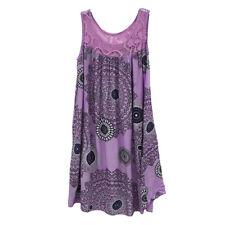 Women Summer Bohemina Lace Stitching Sleeveless Mini Dress Party Beach Sundress