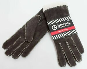 Isotoner Signature Women Casual Gloves Brown Suede Moccasin Stitch MSRP $40