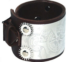 Steampunk Brown Leather Cuff Wristband Bracelet adjustable-Handmade in the UK
