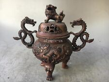 10''red copper carved home fengshui auspicious beast dragon lion foo dogs censer