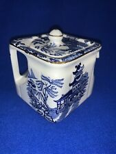 Vintage Burleigh Ware Blue Willow SQUARE CREAMER PITCHER for Teapot Set England