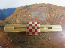 Vintage Anson Red Checkerboard Enamel Gold Tone Tie Bar Clip RP4